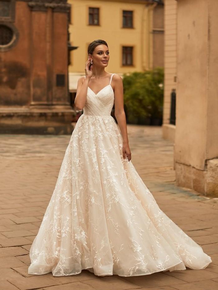 Drop Waist Wedding Dress   Moonlight Bridal H1468   RK