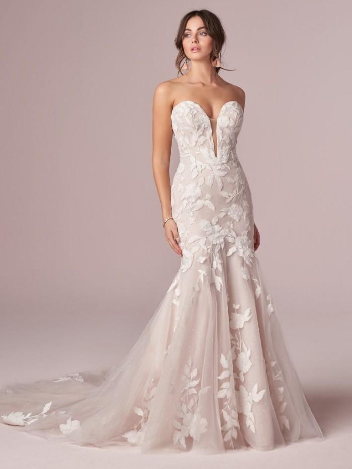 Strapless Mermaid Lace Bridal Gown Rebecca Ingram Hattie Rk Bridal Nyc